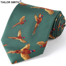 Tailor Smith Silk Bird Necktie Mens Fancy Animal Tie Printed Suit Dress Casual Party Necktie Cravat Hunting Shooting Accessory