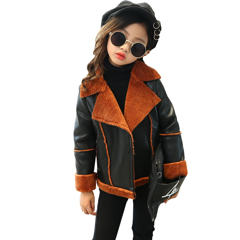 girl winter jackets and coats 2018 children outwear pu leather jackets for girl thicken warm turn down collar kids outwear 4-13T girl winter down jackets children coats warm baby 100
