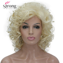 StrongBeauty สั้น Super Curly หนาสีบลอนด์วิกผมสังเคราะห์ Wigs