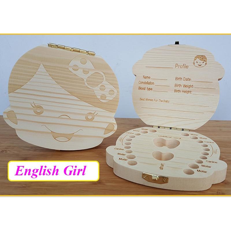 English/Spanish Wooden Box Tooth Box Organizer Save Milk Teeth Box Storage Teeth Gift Umbilical Cord Lanugo caja madera 12