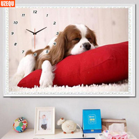 UzeQu Full Diamond Embroidery Wall Clock 5D DIY Diamond Painting Cross Stitch Dog Watch Mosaic Painting