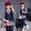 Conjunto de roupas meninas listrado calças de brim esporte terno 3 pcs adolescente meninas da escola roupas roupa das crianças set 3-13 T roupa dos miúdos treino