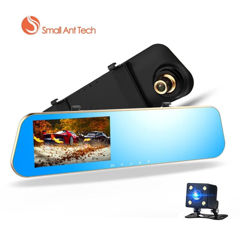 imágenes para Full HD 1080 P Coche Dvr Espejo Retrovisor Con Doble Lente cámara de Visión Nocturna Dash Cam dvr Grabador de Vídeo Digital con 8 GB tarjeta