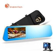 Smallantteach Full HD 1080 P Автомобильные видеорегистраторы зеркало заднего вида с Двойной объектив Камера Ночное видение регистраторы видеорегистратор Цифровой Регистраторы
