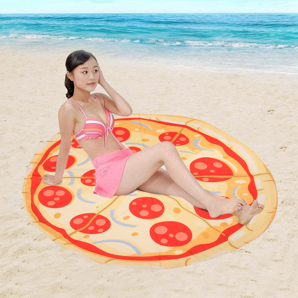 Special Pattern Roundness Tassels Mat Pizza Printed Summer Swimming Beach Sunbath DacronTowel Yoga Outdoor Sports Mat