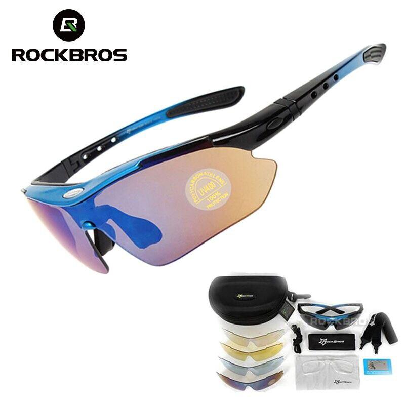 ¡Caliente! RockBros Polarizado Ciclismo Gafas De Sol Al Aire Libre Deportes De Bicicletas Bike Gafas De Sol 29G Gafas 5 Lente