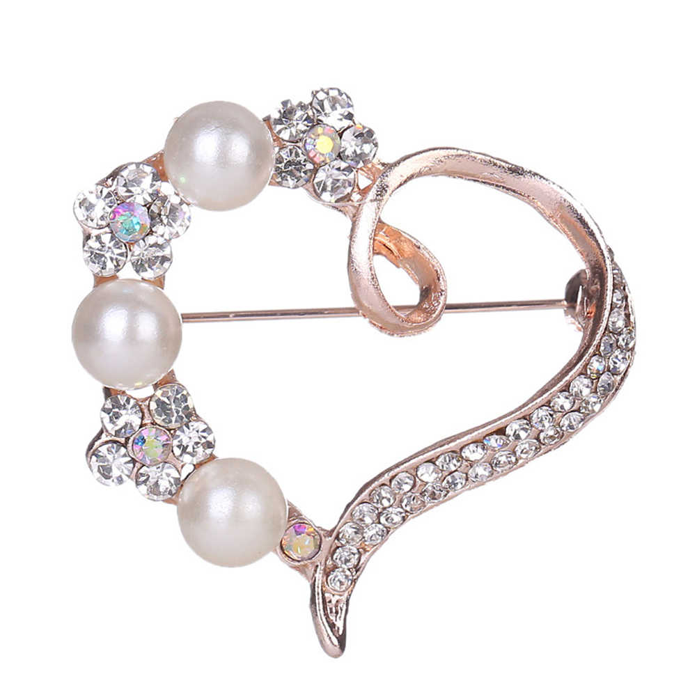 Baru Wanita Cantik Mutiara Imitasi Berlian Imitasi Inlay Peach Jantung Bros Pin Kemeja Lencana