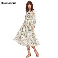 Women Summer Turn Down Collar Long Sleeve Buttons Shirt Dress Floral Print Chiffon Boho Dress Pleated