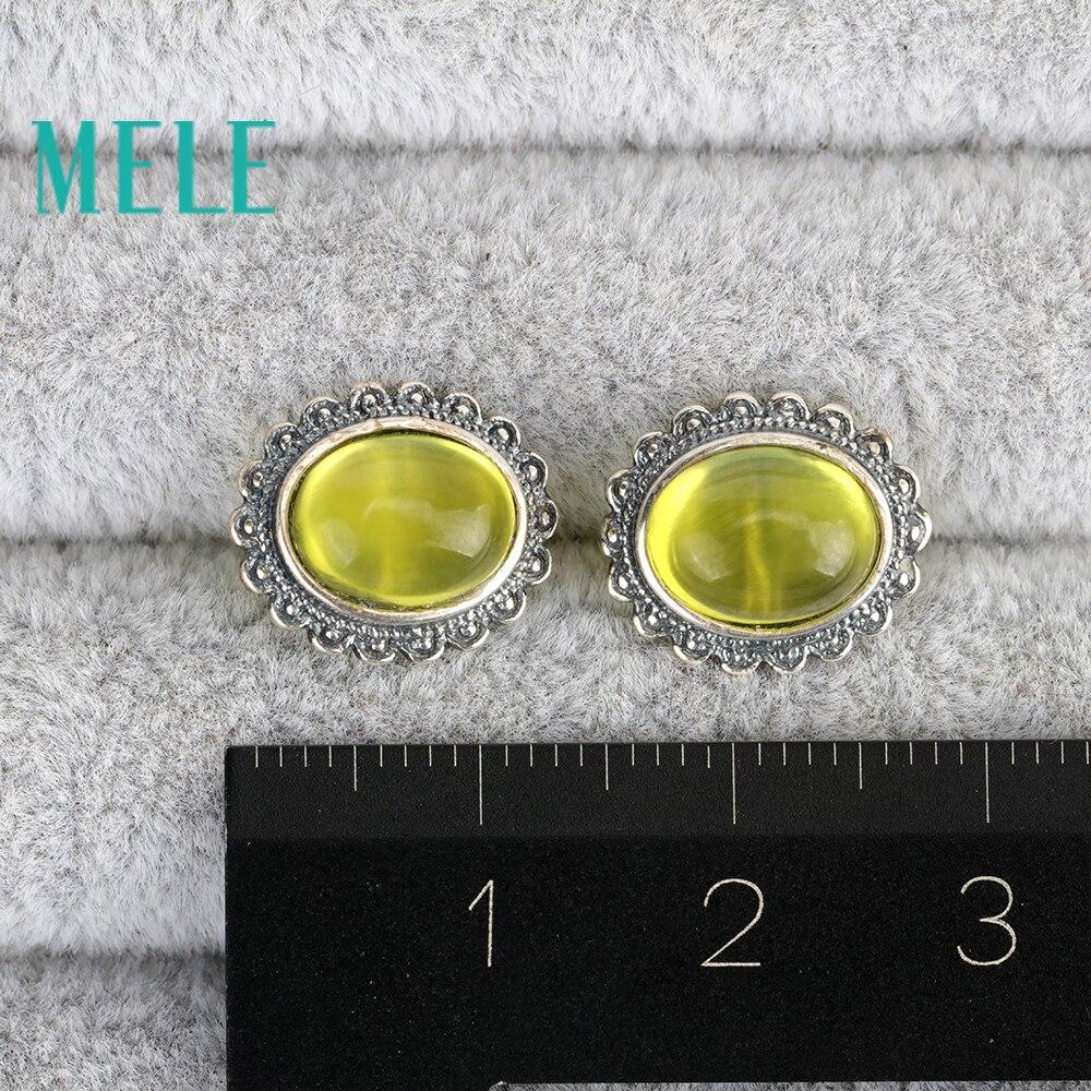 Boucles d'oreilles en argent naturel 7mm X 9mm jaune préhnite 925 pour femmes, Vintage sculpture artisanat ovale coupe à la mode et à la mode - 6