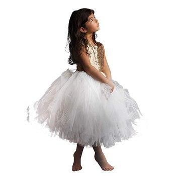puffy dresses for little girls baby girl clothes tulle kids party dresses for girls vestido gold sequin flower girls dress