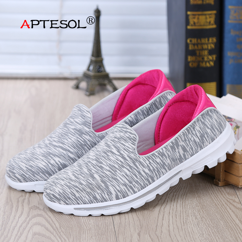 APTESOL Women Fashion Mesh Flats Woman's Slip on Breathable and Comfortable Casual Shoes Daily Female Walking Shoes for Summer summer outdoor walking shoes women sneakers breathable flat mesh vulcanize shoes fashion comfortable women casual shoes ddt103