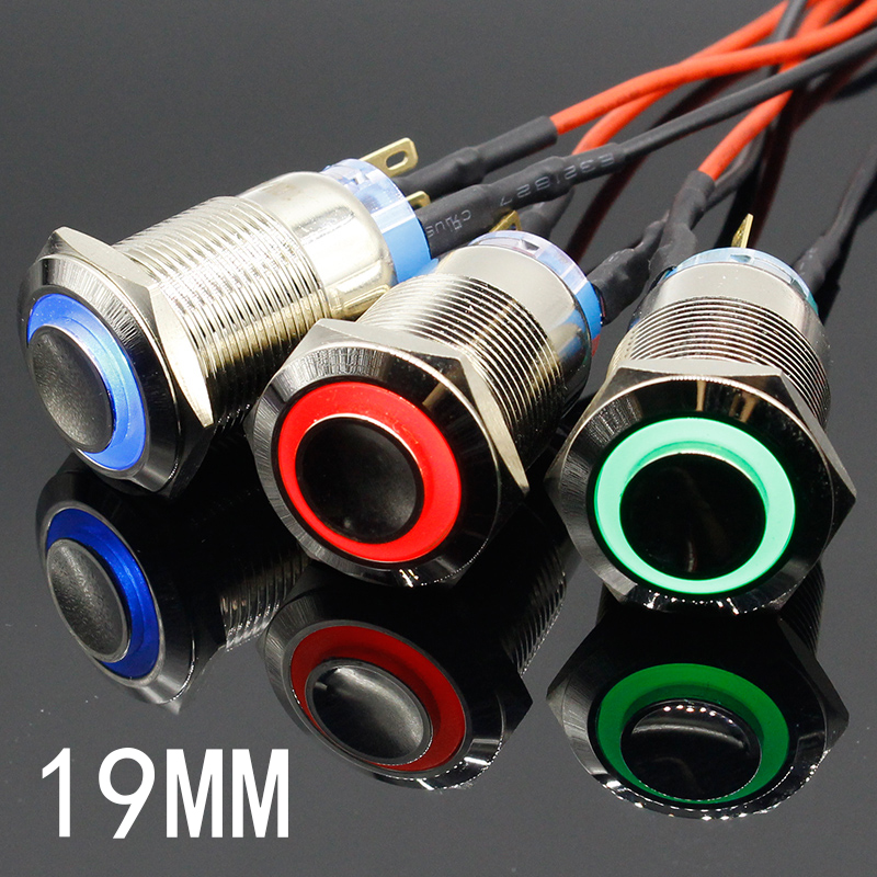 цена 19mm Waterproof Momentary Latching Stainless Steel Metal Doorbell Bell Horn Push Button Switch LED Car Auto Engine PC