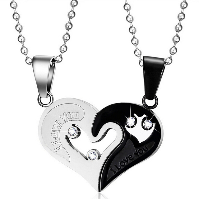 6b50682a6a Mens Stainless Steel Chain Black Heart Love Necklaces for Couples Korean  Ladies Fashion Trendy Paired Suspension