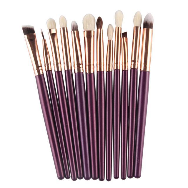Pincel de maquillaje Nuevo 12 Unids Pro Makeup Blush Blending Sombra de ojos Con