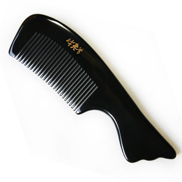 Cattle horn comb natural horn comb Large fish tail anti-static antidepilation massage comb
