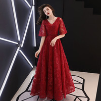 Exquisite Sequins Bandage Mesh Maxi Dress Qipao Sexy Lace Formal Evening Party Gown Bling Elegant V Neck Summer Cheongsam