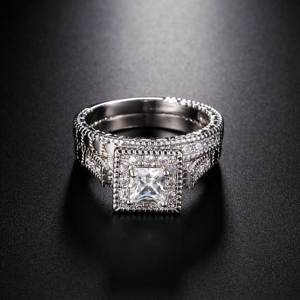 יוקרה נקבה גדול ייחודי CZ טבעת לבן זהב מלא תכשיטי בציר חתונה טבעת סט אירוסין הבטחת טבעות לנשים Anillos