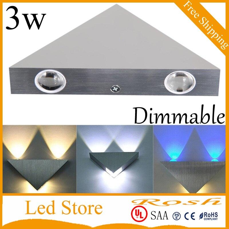 3W led wall lights Triangle dimmable led spot light aluminm modern home decoration light for bedroomdinning room 110V 220V CE