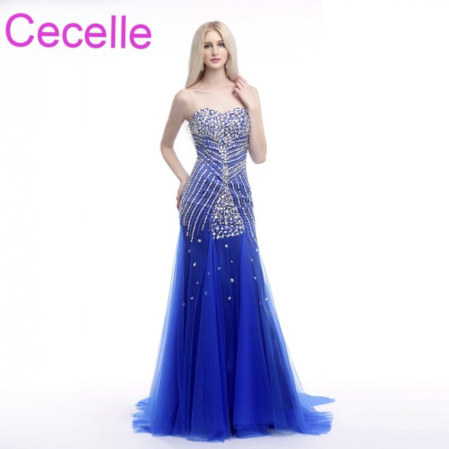 Royal Blue Mermaid Long Prom Dresses 2018 Sweetheart Beaded Crystals