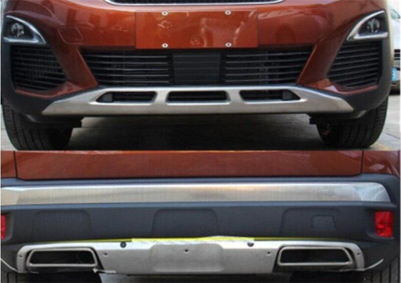 Convient pour Peugeot 3008 GT 2016 2017 2018 acier inoxydable extérieur avant et arrière plaque de protection pare-chocs panneau couverture 2 pièces