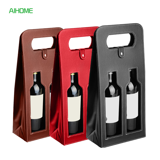 Fashionable Faux Leather Wine Bottle Carry Bag Packaging Bags Double Gift