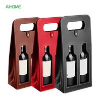 Fashionable Faux Leather Wine Bottle Carry Bag Packaging Bags Double Wine Bottle Gift Bag