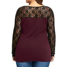 Women's Blouse Plus Size L-5XL Sexy Floral Lace Patchwork shirt Surplice Long Shirt Tops
