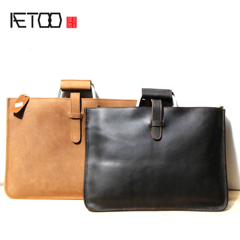AETOO Nostalgic handmade men bag business first layer cowhide handbag retro computer bag briefcase cestbeau no splicing real crocodile belly man bag men handbag briefcase 2018 new business men bag with computer layer
