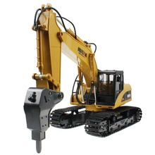 Huina 16 Channel 2.4G RC Alloy Hammer Excavator Rechargeable Sound and Light Demo Remote Control Drilling Truck