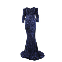 83145bfd Romagic Navy Blue Sequined Maxi Dress Stretch Evening Party Dress Full  Sleeved. US $46.66 / piece Free Shipping