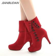 JIANBUDAN/Womens sexy high heel winter boots Suede top autumn Brand Design Fashion Female warm Size 35-43