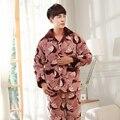 Три слоя толщиной зима коралловых бархатной стеганые пижамы ночной рубашке pijamas hombre inverno мужские толстый мужской пиджак плюс размер suit3XL