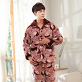 Three layer thick winter quilted pajamas nightshirt coral velvet pijamas hombre inverno mens thick male jacket plus size suit3XL