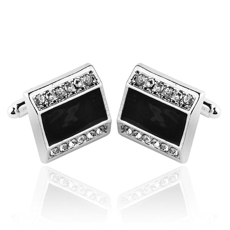 Black Fashion Rhinestones Cufflinks Men's Cufflinks Button Shirt Collar Tie Custom Jewelry Accessories Gift For Business Men