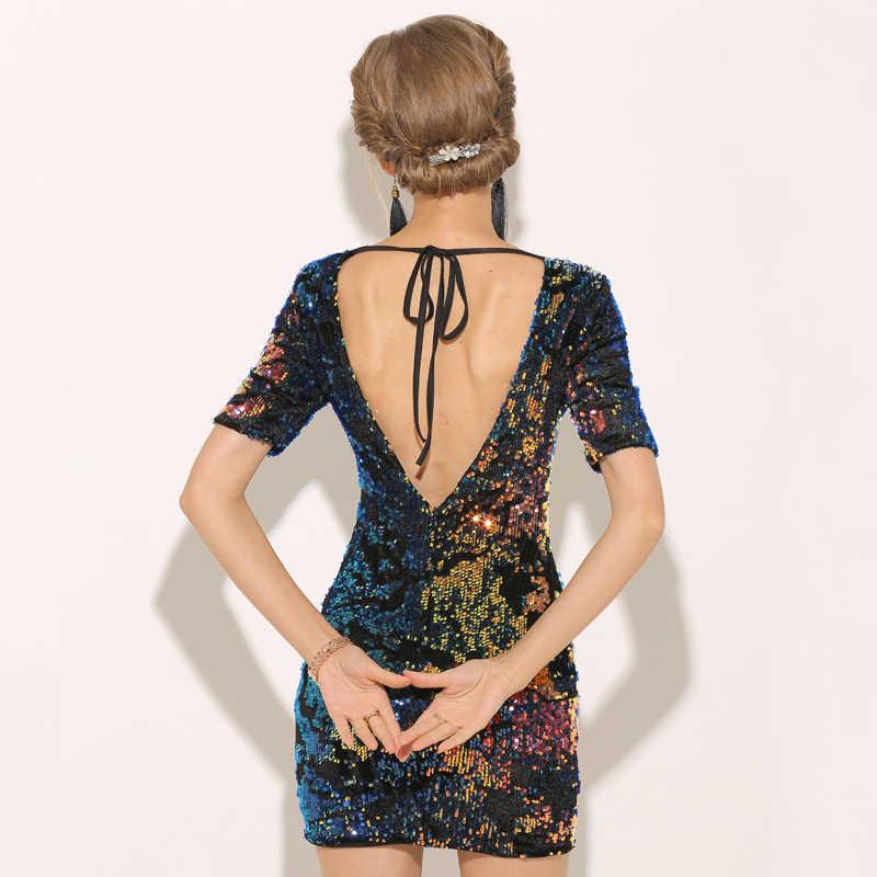 Сад «Новая Азия» клубвечерние Вечеринка блесток платье с коротким рукавом Осень Платье Зима открытая спина сексуальное облегающее платье женское мини платья Vestidos