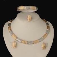 2016 New Fashion Dubai Whtie Gold Plated Jewelry Sets Elegant Line Crystal Costume Jewelry Sets Nigerian