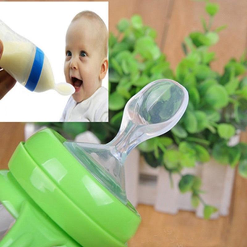 Baby Baby Siliconen Zuigfles Tepel Lepel Rijst Pasta Lepel Eten - Voeden