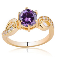 Women Gold Color 925 Silver Ring Sterling Jewelry 7mm Round CZ Support Customization R018 size 6 7 8 9