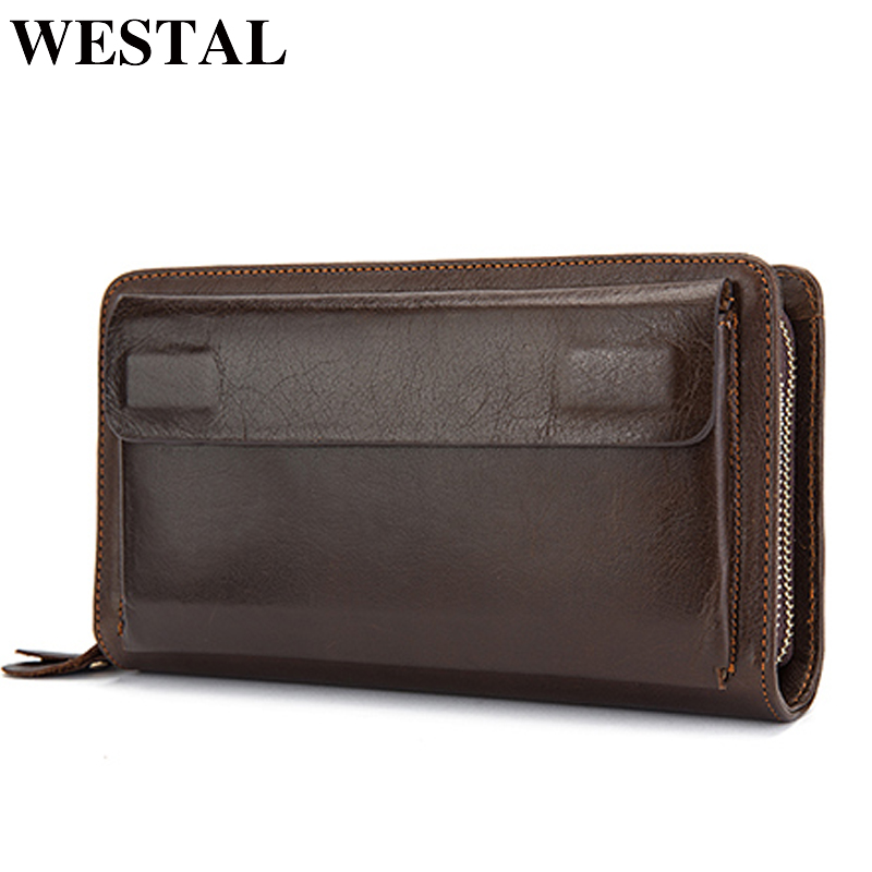 WESTAL Genuine Leather Wallet Male Men's Wallets For Credit Card Holder Clutch Male Bags Coin Purse Men Casual Portmonee New9069