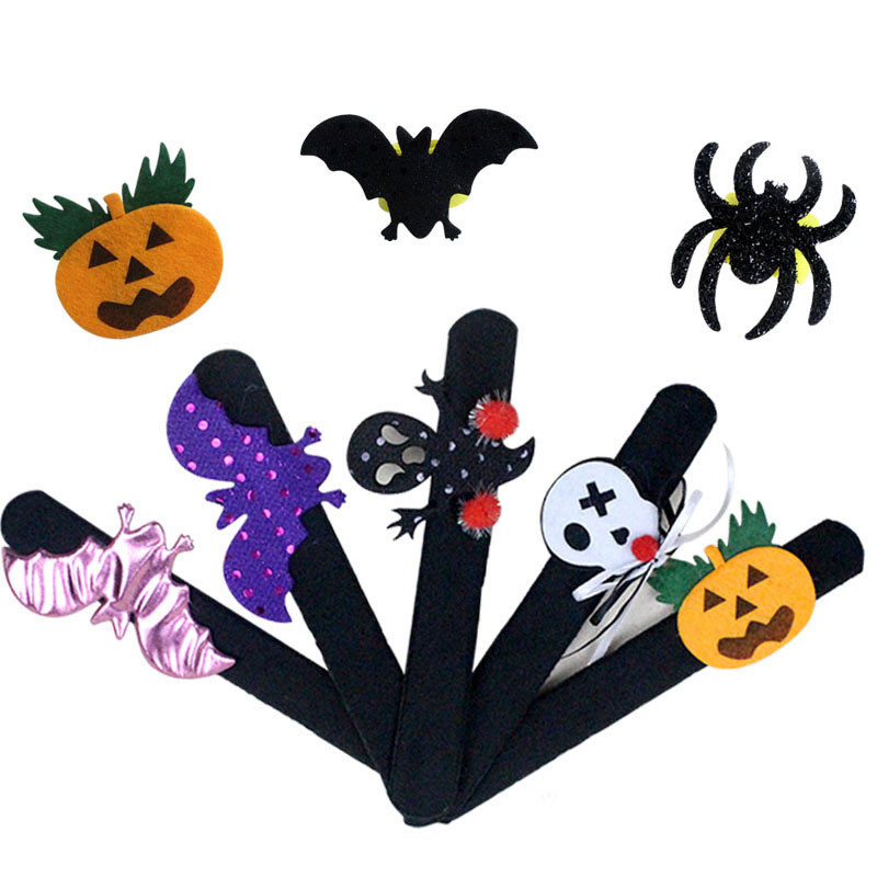 Halloween Decorations Pops Ring Cloth Pat Circle Pat Bracelet Pumpkin Spider Skull Ghost Pat Circle Bracelet Halloween Gift Kids in Party DIY Decorations from Home Garden