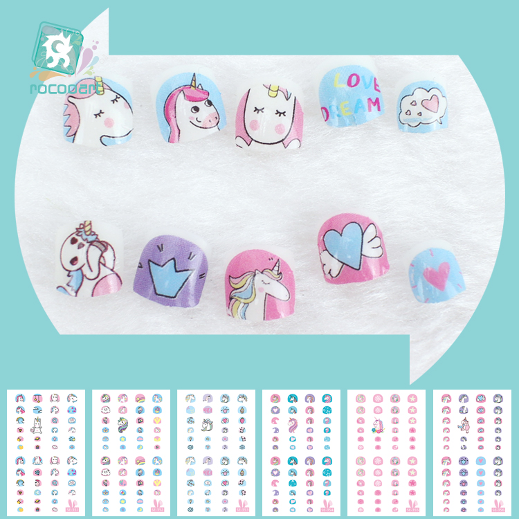 Latest 2018 Kids Unicorn Nail Art Stickers 3D Nail Art Decoration Self adhesive Tip Stickers Cartoon Nail Stickers For Children-in Stickers & Decals from Beauty & Health