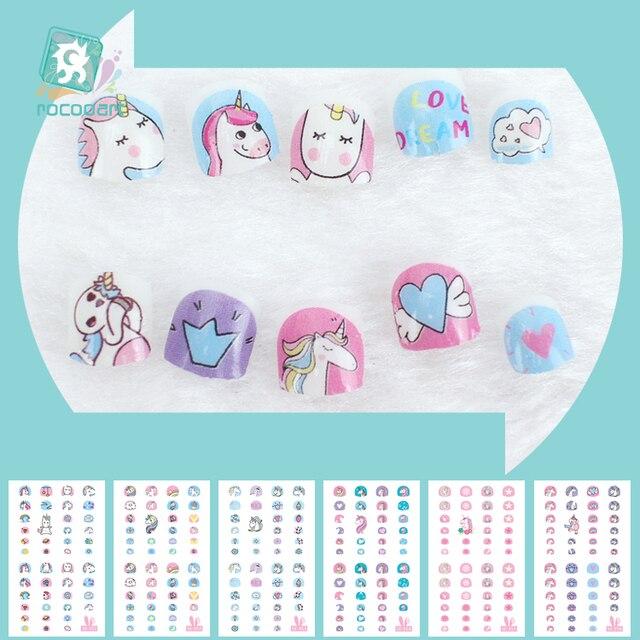 Pegatinas Nail Art de unicornio para niños, decoración de uñas 3D, pegatinas de Punta autoadhesivas, pegatinas de uñas de dibujos animados para niños, novedad de 2018