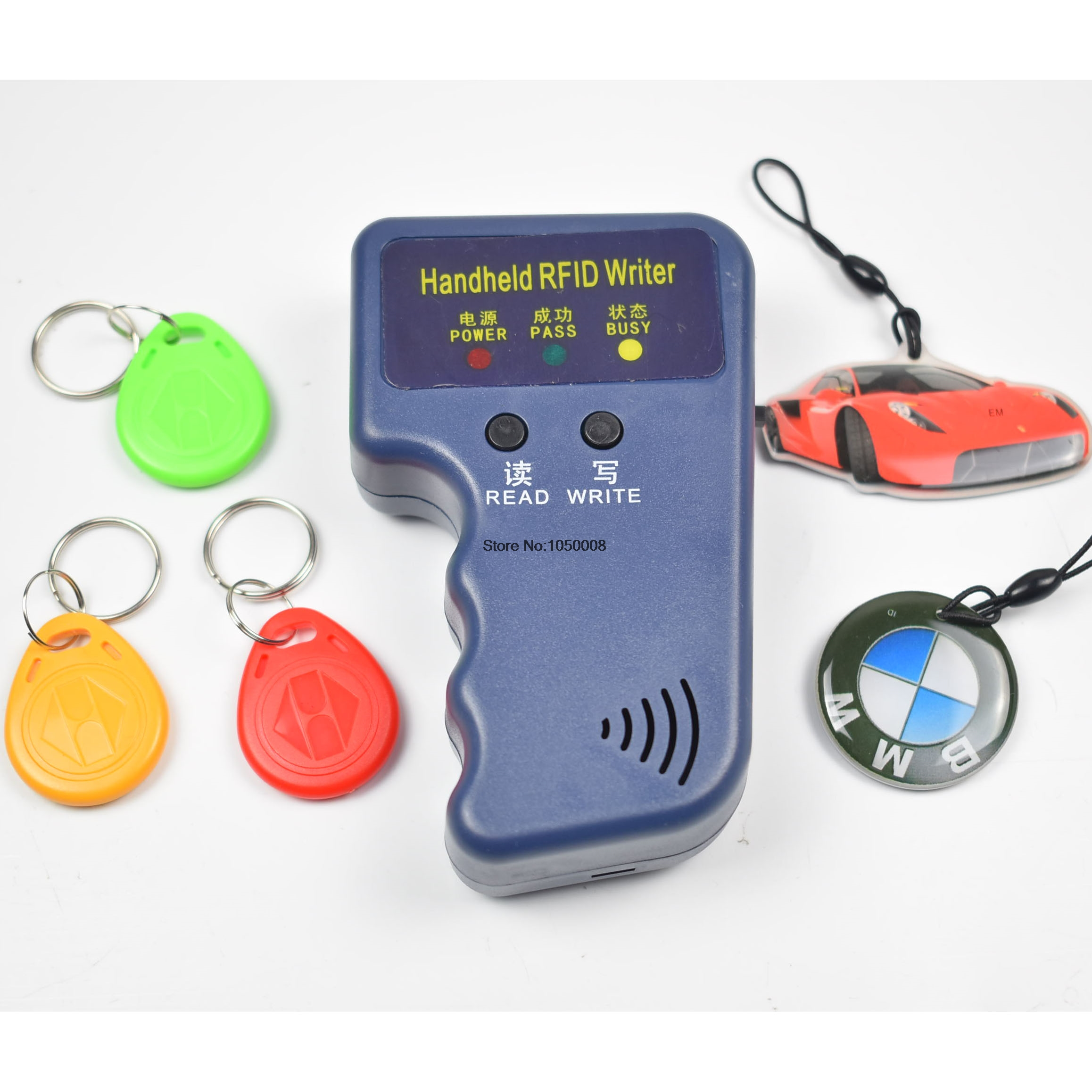 125Khz Handheld RFID ID Card Copier/ Reader/Writer Duplicator Programmer+5 Pcs EM4305 T5577 Rewritable ID Keyfobs Tags Card