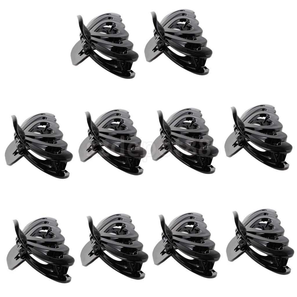 10 Pieces Fashion Black Hair Claws Hollow Heart Gripper Barrette for Women Female Plastic Hair Clip