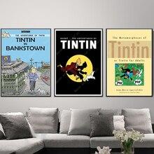 De dibujos animados de Las Aventuras de Tintín perro en Bankstown de pintura de la lona Vintage cartel de papel Kraft recubierto de pegatina de pared casa decoración regalo