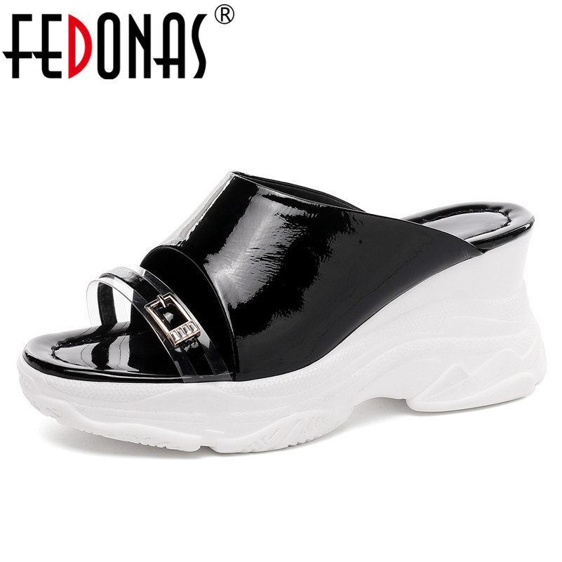 FEDONAS Genuine Leather Women Sandals 2019 Summer New Round Toe Wedges Shoes Woman Concise Slippers Casual