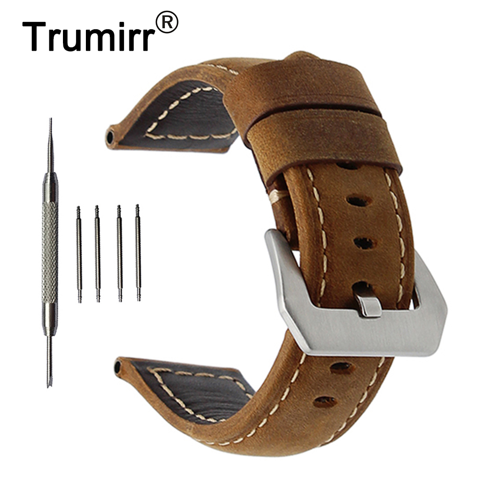 22mm 24mm Italy Genuine Leather Watch Band for Panerai Luminor Radiomir Stainless Steel Buckle Watchband Wrist Strap Brown Black zlimsn men s watch band for panerai 20 22 24 26mm black brown watchband stainless steel buckle wrist belt genuine leather