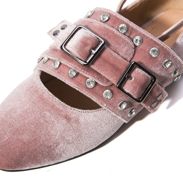 ALLBITEFO Casual Round Toe Low-Heeled Women Pumps Rivets