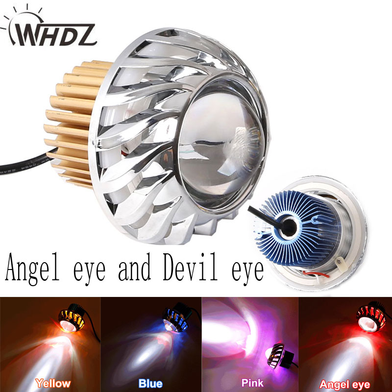 Universal 15w Motorcycle Headlight Led Projector Lens Angel eye and Devil eye 2pcs purple blue red green led demon eyes for bixenon projector lens hella5 q5 2 5inch and 3 0inch headlight angel devil demon