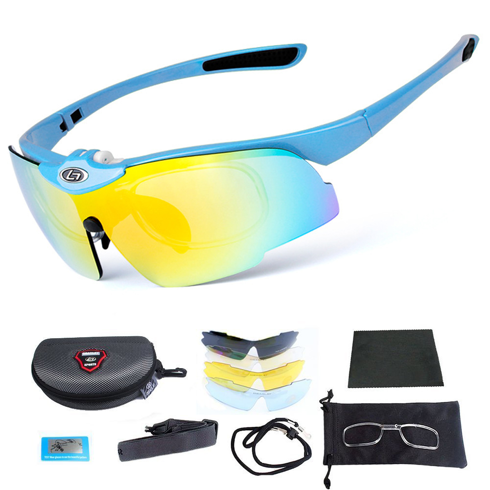 Cycling Sunglasses Outdoor Driving Tennis Golf Fishing Glasses with Case and 5 Interchangeable P